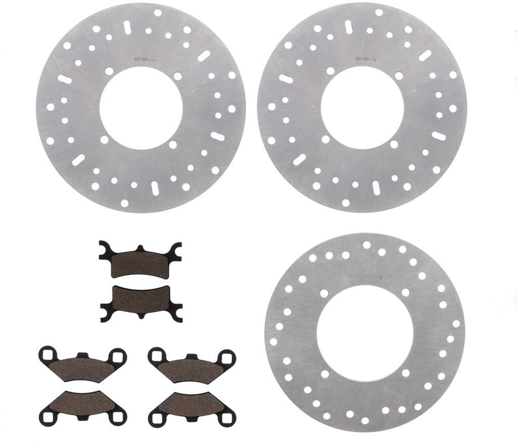 2003 2004 2005 Polaris 600 Sportsman 4X4 Front & Rear Brake Rotors & Brake Pads CycleATV