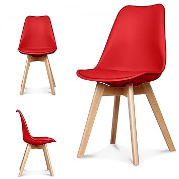 Lestockdesign Lot De 4 Chaises Scandinaves Rouge Skagen