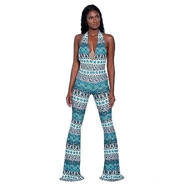 6175bb4d984 JERFER Combinaison Femme Pantalon de soirée Bohemia Retro V Neck Playsuit  Combi-Pantalon Jumpsuit Rompers  Amazon.fr  Vêtements et accessoires