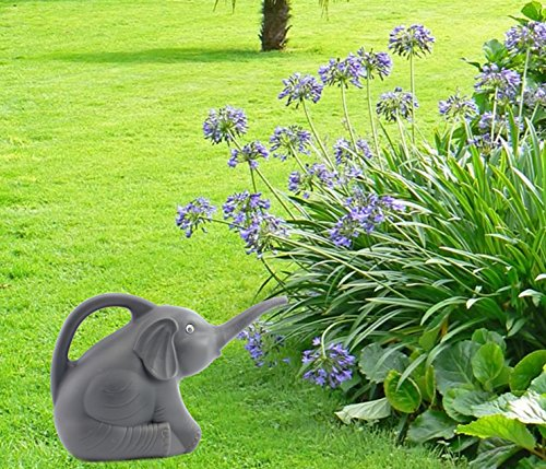 Cornucopia Brands Elephant Watering Can w/Real Eyes, Grey with Googly Eyes, Fully Functional Novelty Watering Can
