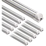 Barrina LED Shop Light, 8FT 72W 9000LM 5000K, Daylight White, V Shape, Clear Cover, Hight Output, Linkable Shop Lights…