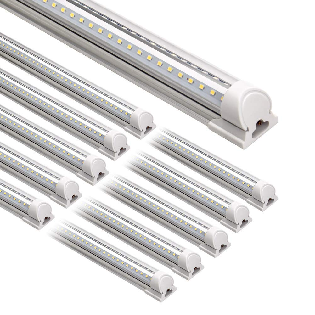 Barrina LED Shop Light, 8FT 72W 8500LM 5000K, Daylight White, V Shape, Clear Cover, Hight Output, Linkable Shop Lights, T8 LED Tube Lights, LED Shop Lights for Garage 8 Foot with Plug (Pack of 10)