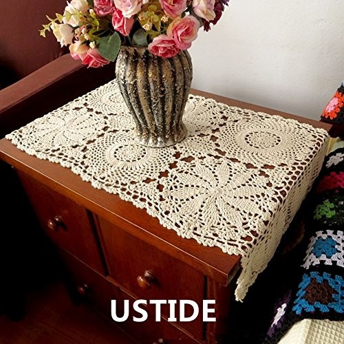 Ustide Rustic Floral Table Runner Hand Crochet Table Placemats Beige Cotton  Table Doilies Runners,1PC