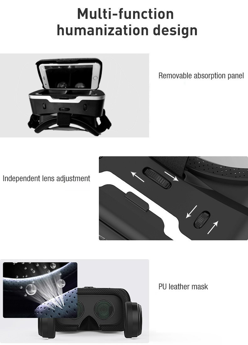 LEKAMXING VR1 Virtual Reality Headset-for Iphone X/7/6S/6Splus/6/5,Galaxy, Huawei,Google, Moto and All Android Smartphone 4.7~6.0 Inches, Adjust Stra by SHiNECON (Image #2)