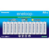 12-Pack Panasonic BK-3MCCA12FA eneloop AA 2100 Cycle Ni-MH Pre-Charged Rechargeable Batteries