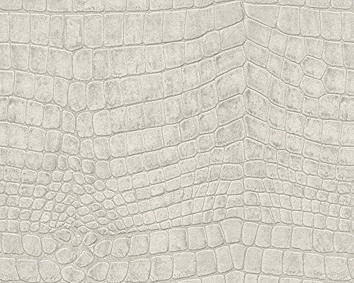 Crocodile Skin Wallpaper - 51157507 - Serenity Crocodile Skin Ivory Galerie Wallpaper