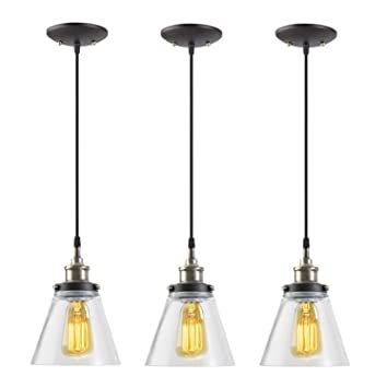 Globe electric 1 light vintage edison hanging pendant 3 pack antique brass