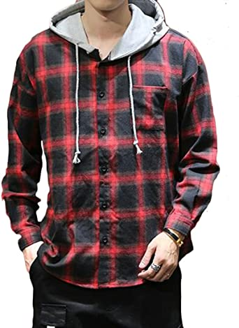 CRYYU Men Long Sleeve Hooded Plaid Print Casual Button Front Shirts