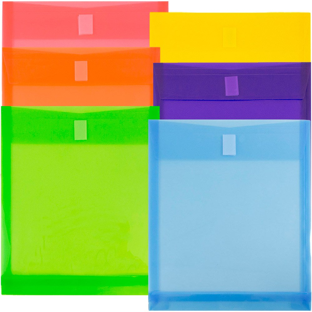 JAM Paper Plastic Expansion Envelopes with Hook & Loop Closure - Letter Open End - 9 3/4 x 11 3/4 with 1 inch Expansion - Assorted Colors - 6/Pack