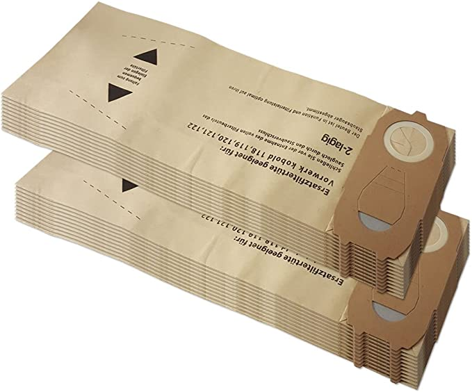 20 bolsas para aspiradora Vorwerk Folletto Kobold VK 118, 119, 120, 121, 122, VK119, VK118, VK120, VK121, VK122: Amazon.es: Hogar