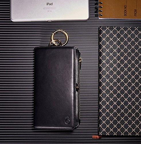 Funda iPhone 6 Plus, iPhone 6S Plus Wallet Shell, Bonice Desmontable Funda de Monedero con Cremallera Premium Leather Multifuncional 13 Ranuras para Tarjetas [HD Screen Protector][Cable de Datos] - Or Negro02