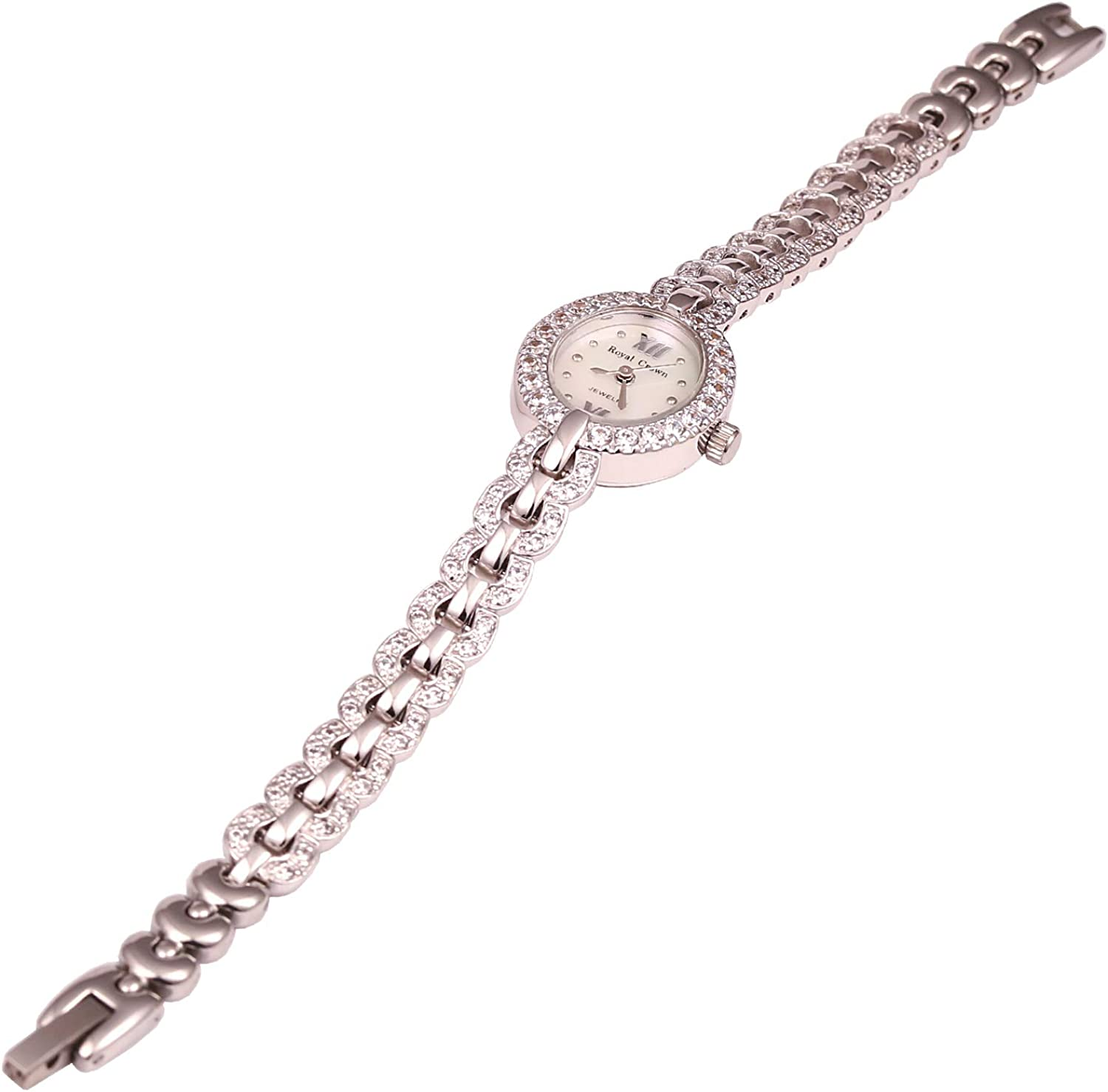 RC ROYAL CROWN Women's Crystal-Accented Luxury Silvery-Tone Bangle Watch Jewelry Series Women Fashion Wrist Watches silvery
