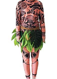 e7f3a01656518 Halloween Moana Maui Tatouage T-shirt   Pantalon Adulte Hommes Femmes  Costume Cosplay avec Jupe