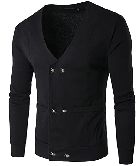 LD Mens V Neck Double-Breasted Long Sleeve Sweater Cardigan With ...