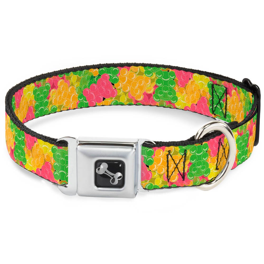 Buckle-Down Gummy Bears Stacked Multi color Dog Collar Bone, Wide Medium 16-23