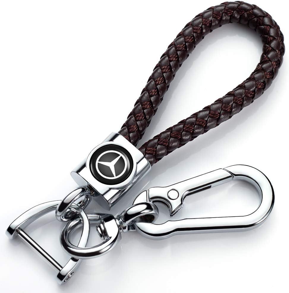 Genuine Leather Car Logo Keychain Suit for Audi Key Chain Keyring Family Present for Men and Women Elegant Black Durable