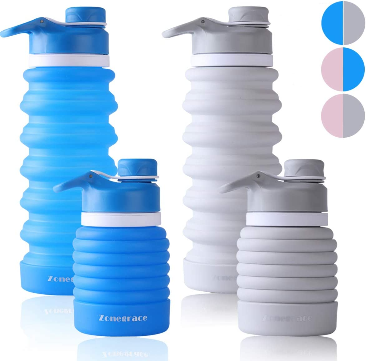 FDA Approved Food-Grade Silicone for Travel Collapsible Water Bottle BPA Free