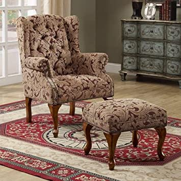 Ordinaire Traditional Wing Back Chair/Ottoman, Burgundy