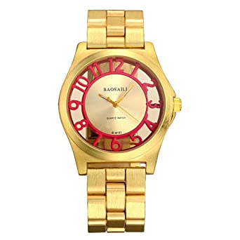 BSL849 BAOSAILI Women Quartz Analog Watches Gold Stainless Steel Wristwatch Hollow Lady Gift relojes