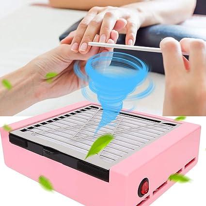 Aspirador de arte de uñas, 40W colector de polvo de uñas de gran potencia, herramientas profesionales de salón de manicura de uñas(Rosa # 11): Amazon.es: Belleza
