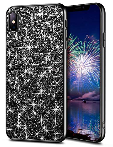 WOLLONY iPhone Xs Max Case,Ultra Slim iPhone Xs Max Bling Shiny Glitter Case for Girl Hybrid TPU Shock-Absorption Bumper Sparkle Hard Back Cover for iPhone Xs Max 6.5inch 2018 - Black