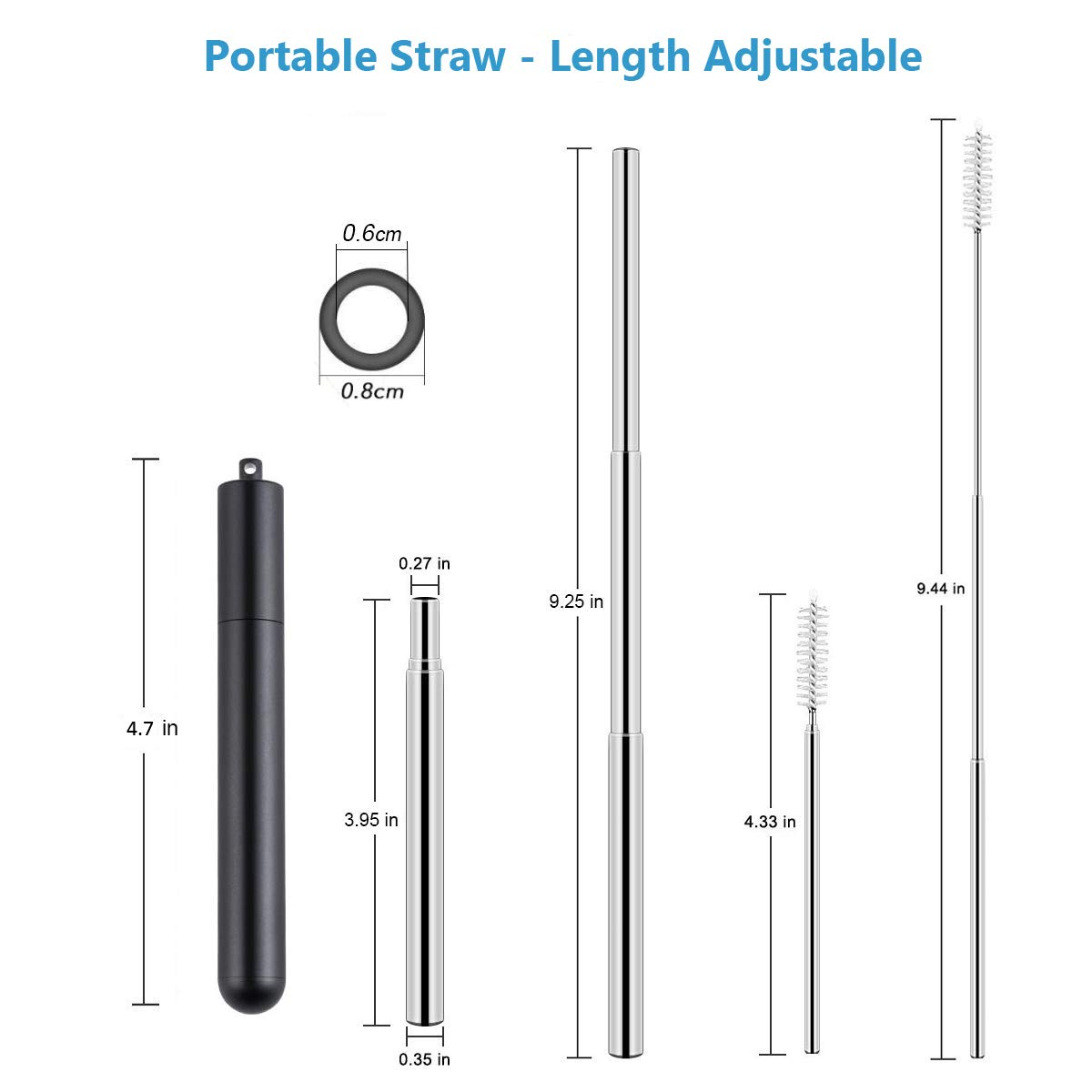 Yaphets Collapsible Straw Keyring and Keychain Stainless Steel Metal Straws Folding Straw Drinking Reusable Straw with Case +1 Cleaning Brush Pink