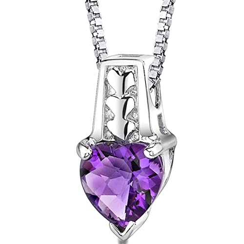 Heart Shape Amethyst Pendant Necklace Sterling Silver Rhodium Nickel Finish 1.50 Carats