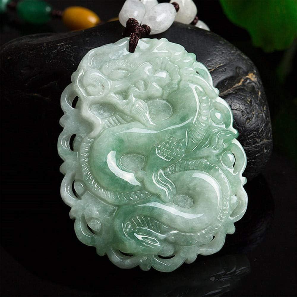 LEIGAGA Jadeita birmana Genuina Tallada a Mano Dragón Colgante Hombres o Mujeres Amuleto Collar Zodiaco Dragón Jade Colgante Joyería