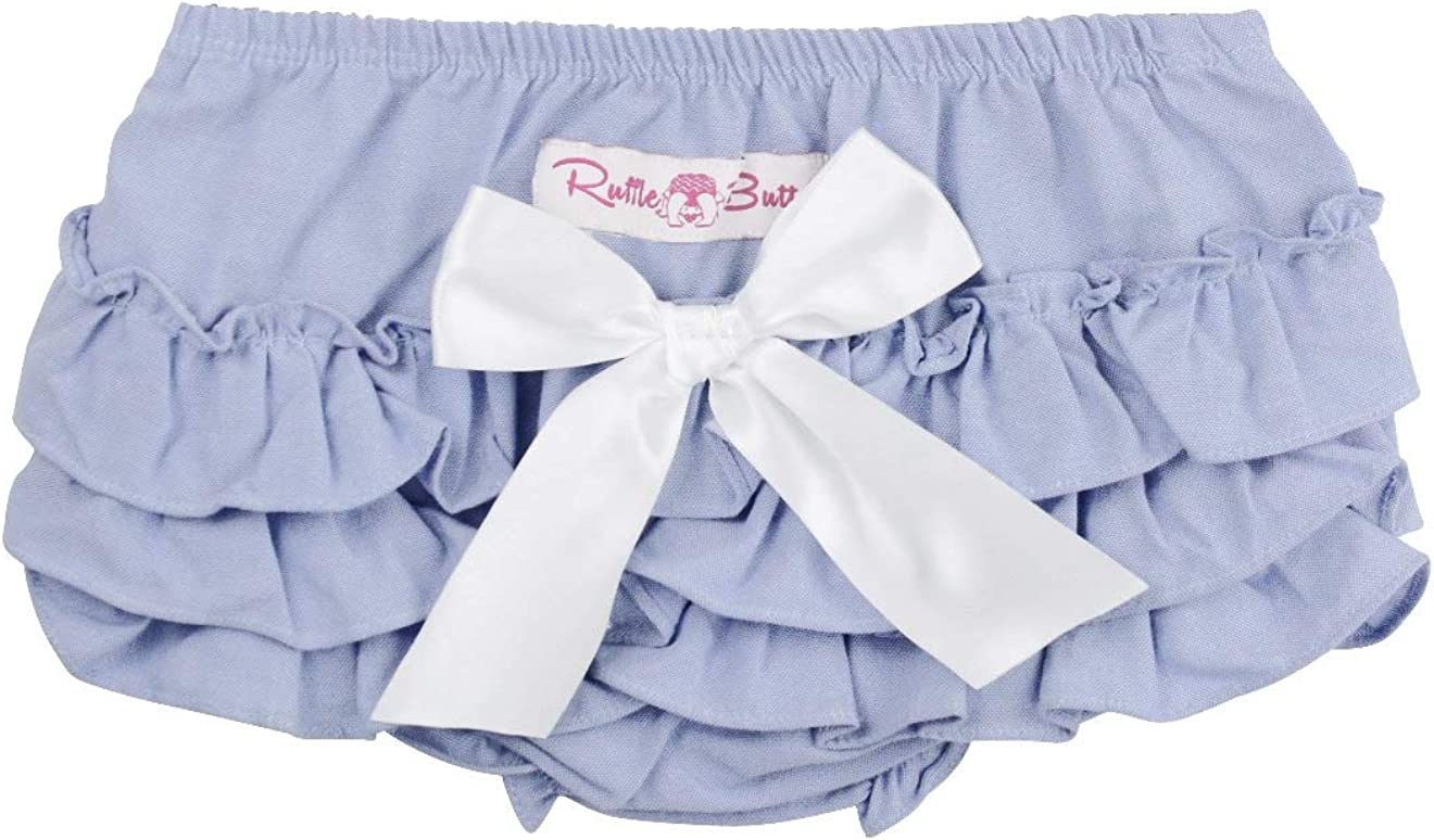 RuffleButts Baby//Toddler Girls Woven Baby Bloomer with Bow