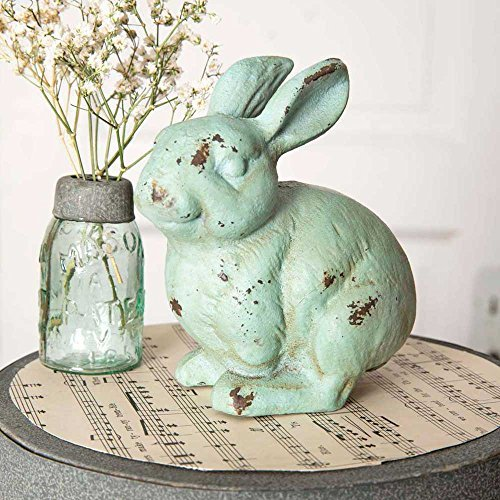CTW 420071 Decorative Metal Bunny Rabbit Statue Figurine for Tabletop, Home, Office, Garden, Yard, Indoor Outdoor, Easter Spring Decor, Cast Iron, Rustic Farmhouse Style, Green Rust