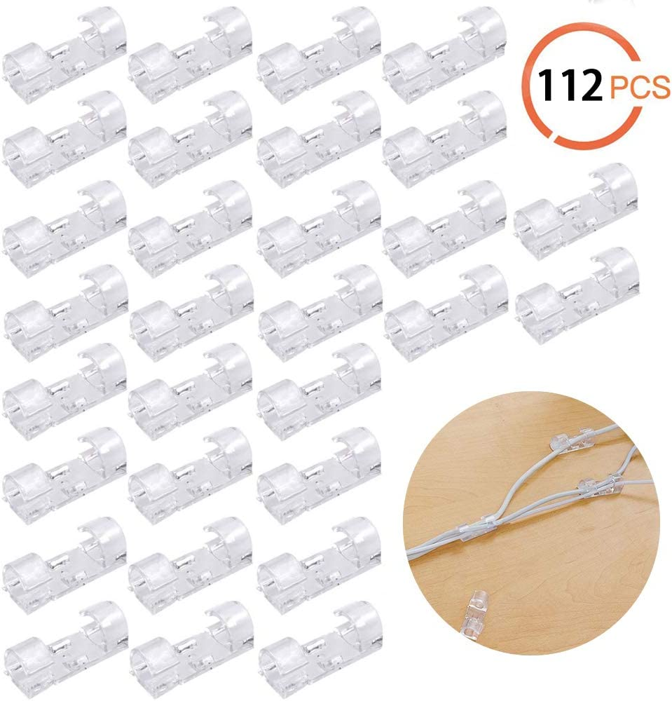 64 pcs Cable Clips Cable Management Organizer Self-Adhesive Cable Organizer Drop Wire Holder Cord Management for Car Office and Home Clear,112 pcs
