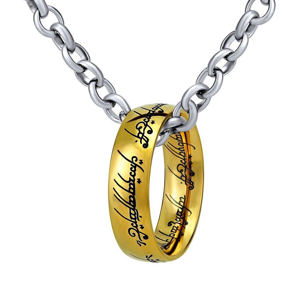 Anillo de El Señor de los anillos – El Anillo De Una en la cadena 60 cm – Acero inoxidable Dorado SILVEGO RRC2210S