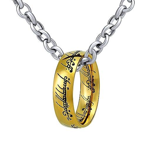 Anillo de El Señor de los anillos – El Anillo De Una en la cadena 60 cm – Acero inoxidable Dorado