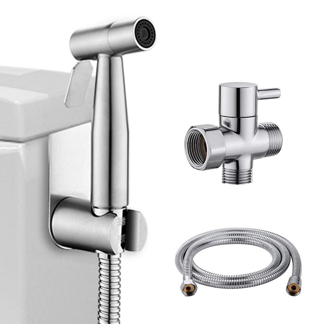 LIKAMU Stainless Steel Handheld Bidet, Bushed Nickle Hand Held Bidet Sprayer Cloth Diaper Sprayer Kits for Toilet, Bathroom, Kitchen