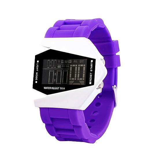 Elegante púrpura de la mujer creativa digital reloj deportivo para los estudiantes niños y niñas único