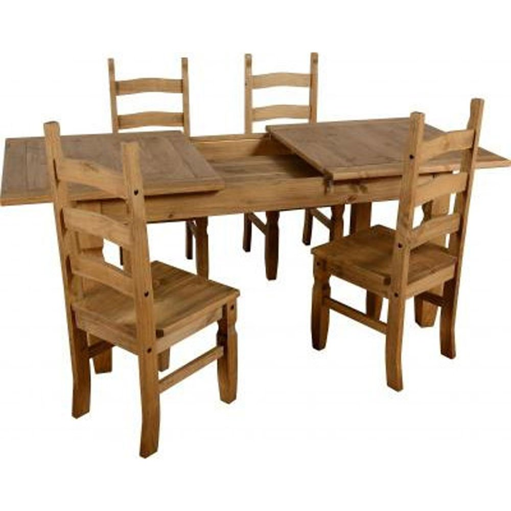 Seconique Corona Pine Extending Dining Set With 4 Chairs: Amazon.co.uk:  Kitchen U0026 Home