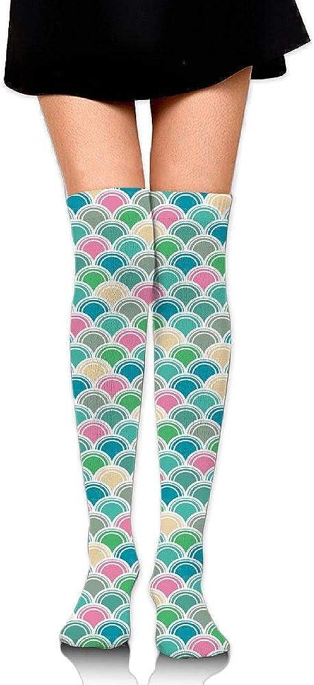 Womens//Girls Color Scales Casual Socks Yoga Socks Over The Knee High Socks 23.6
