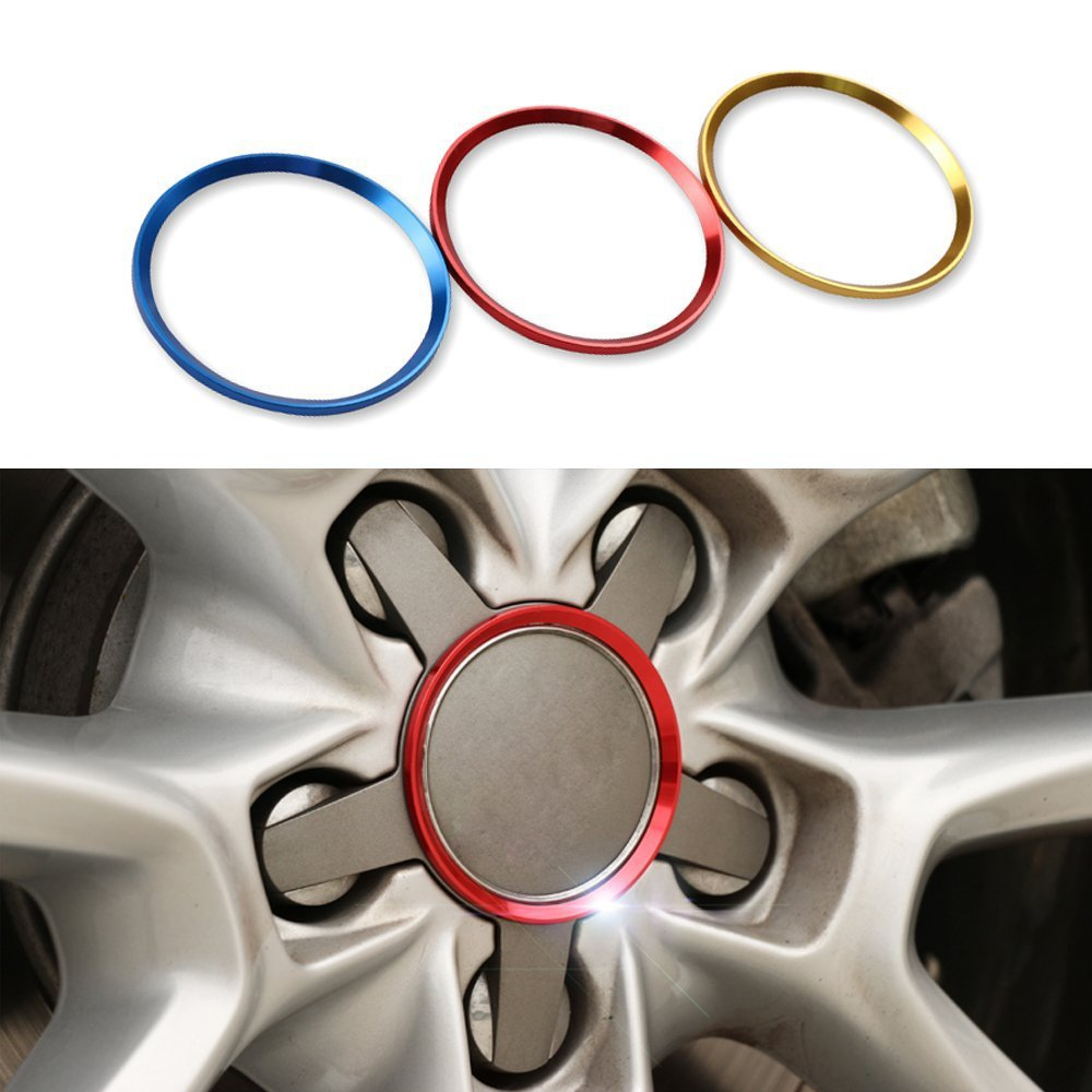COGEEK 4 Pcs Tires Wheels Cartwheel Circle Cover Trim Suit For A3 A4 A5 A6 A7 A8 Q3 Q5 Q7 S3 S4 S5 S6 S7 S8 Car Styling (gold)