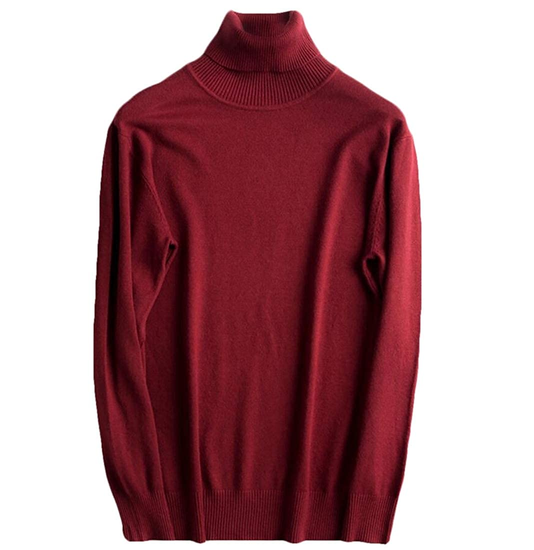 omniscient Mens Long Sleeve Casual Warm Turtleneck Knit Pullover Slim Fit Sweater