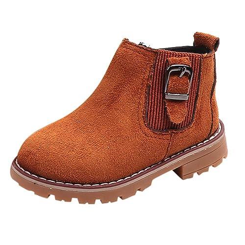 Botas Niña Invierno K-youth Botines de Suede con Cremallera Caliente Zapatos Martin Boots Zapatos