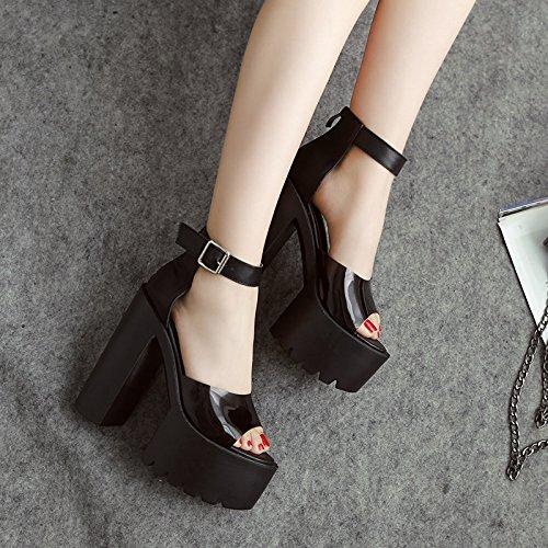 ZHZNVX Frauen hochhackige Schuhe und Sandalen Sandalen kräftigen neuen hochhackigen Sandalen und Weiß 946745