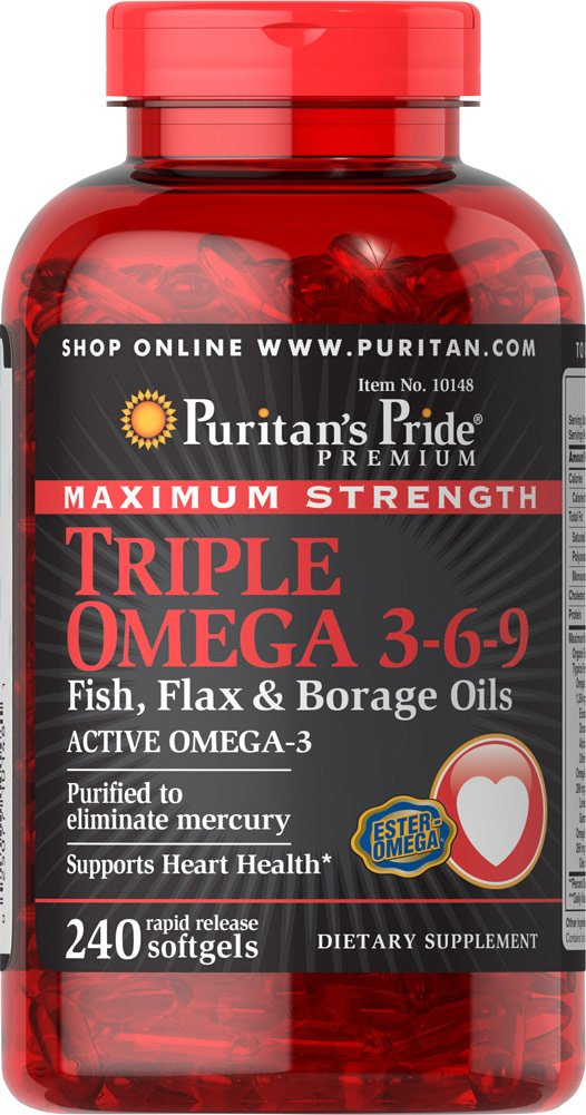 Puritan's Pride Triple Omega 3-6-9 Fish, Flax, and Borage Oils, Omega Fatty Acid Supplement, Purified to Eliminate Mercury, Supports Heart Health, 240 Rapid Release Softgels by Puritan's Pride