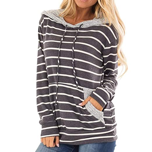 Women Sptring Striped Hooded Sweatshirt Long Sleeve Hoodie Top Blouse Shirt  at Amazon Women s Clothing store  e0d3d3608