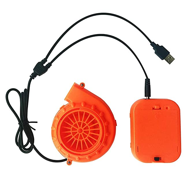 Mini Fan Blower for Inflatable Costume with Clip 6V Battery Operated Orange Separate 2 Pieces