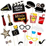 Amosfun Hollywood Photo Booth Props Hollywood Style Photo Props Bachelorette Party Wedding Decor Mustache Birthday Party Supplies 21Pcs