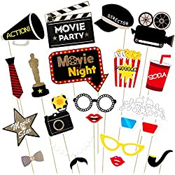 LUOEM Hollywood Photo Booth Props Kit Hollywood Party Selfie Photo Props Movie Night Photo-Booth Props Party Supplies,Pack of 21