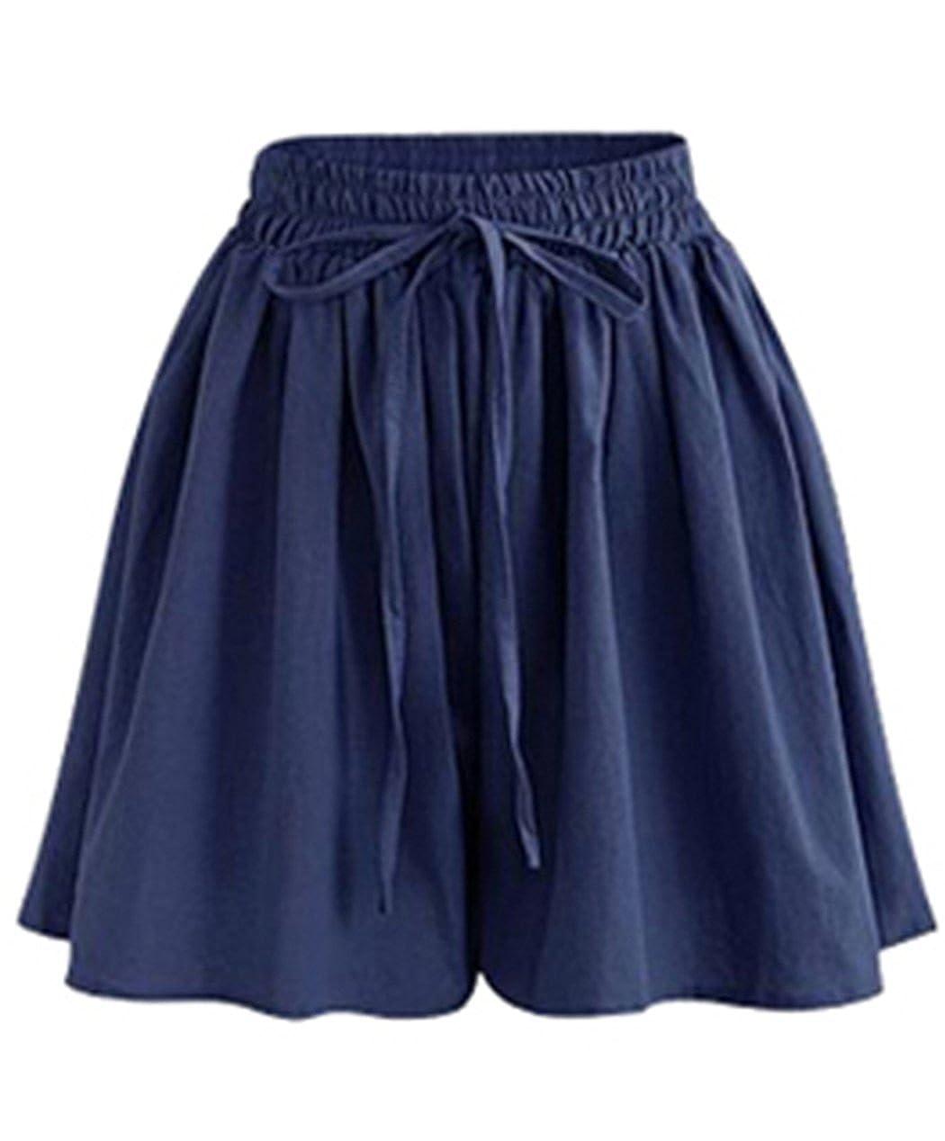 Vcansion Women's Plus Size Elastic Waist Casual Comfy Cotton Linen Beach Shorts