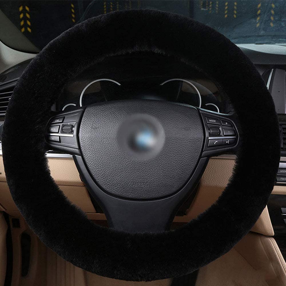 EGBANG Sheepskin Steering Wheel Cover Pure Wool Auto Steering Wheel Cover Genuine Car Steering Non-Slip Wheel Cushion Protector Available for 35cm-42cm Grey