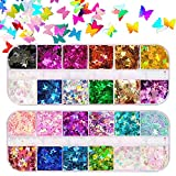 Holographic Butterfly Nail Glitter Sequins, 24