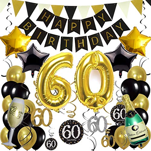 ZERODECO Birthday Decorations, Black and Gold Happy Birthday Banner 60th Gold Number Balloons Star Bottle Champagne Foil Balloons Triangular Garland Hanging Swirls for 60th Years Old Party Supplies